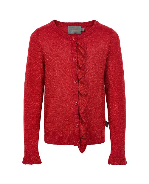 Cardigan Ruches rood