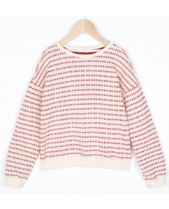 Sweater Becky Stripe Red Salsa