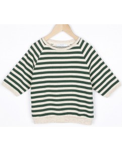 Sweater Lena Dots Stripes Green