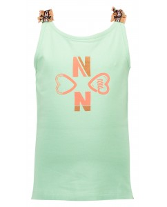 Kiddy singlet with ruffled straps and print mint