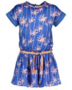 Meryla ss dress palace blue palms and belt with pompoms