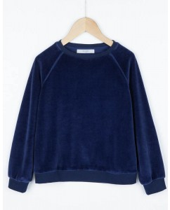 Sweater Teddy Velvet Blue Berry