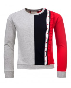 Sweater grey/blue/red